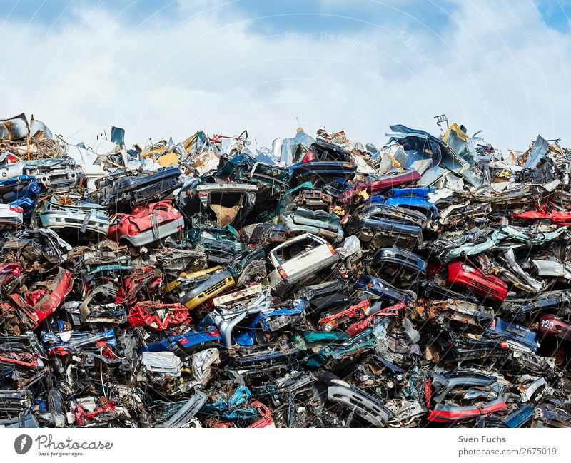 Cars at a scrap yard Cycling Engines Technology Environment Town Traffic accident Street Steel Rust Old Many Scrapyard Scrap metal Metal Recycling Dispose of