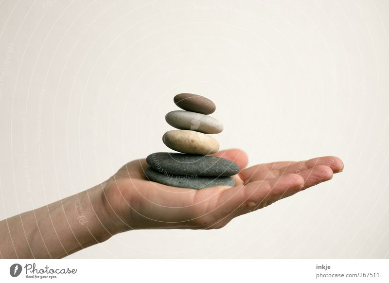 confidence man Harmonious Relaxation Calm Meditation Leisure and hobbies Playing Life Hand Pebble Stone Stack Tower To hold on Lie Tall Natural Round Emotions