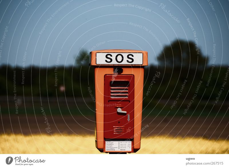 SOS Nature Landscape Transport SOS emergency call point Road sign Utilize Brown Colour photo Subdued colour Exterior shot Copy Space left Copy Space right Day