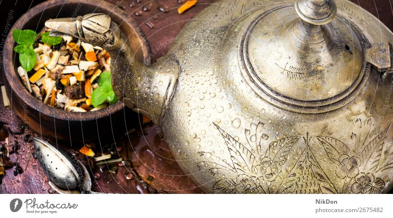 Kettle eastern and tea leaf spoon drink kettle oriental arabic turkish healthy herb teapot antioxidant dry herbal heap teakettle freshness fruit tea leaves