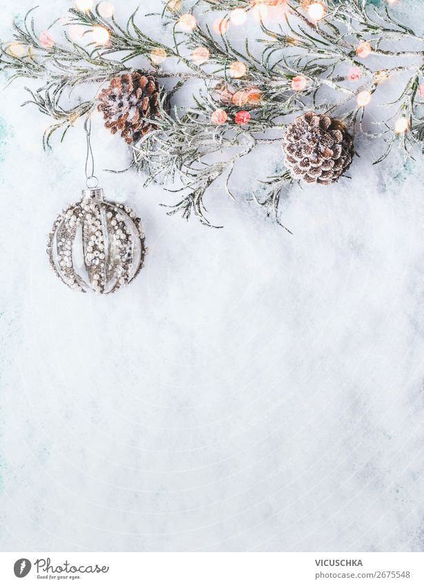 Christmas snow background with christmas ball Style Design Winter Snow Decoration Feasts & Celebrations Christmas & Advent Ornament Background picture
