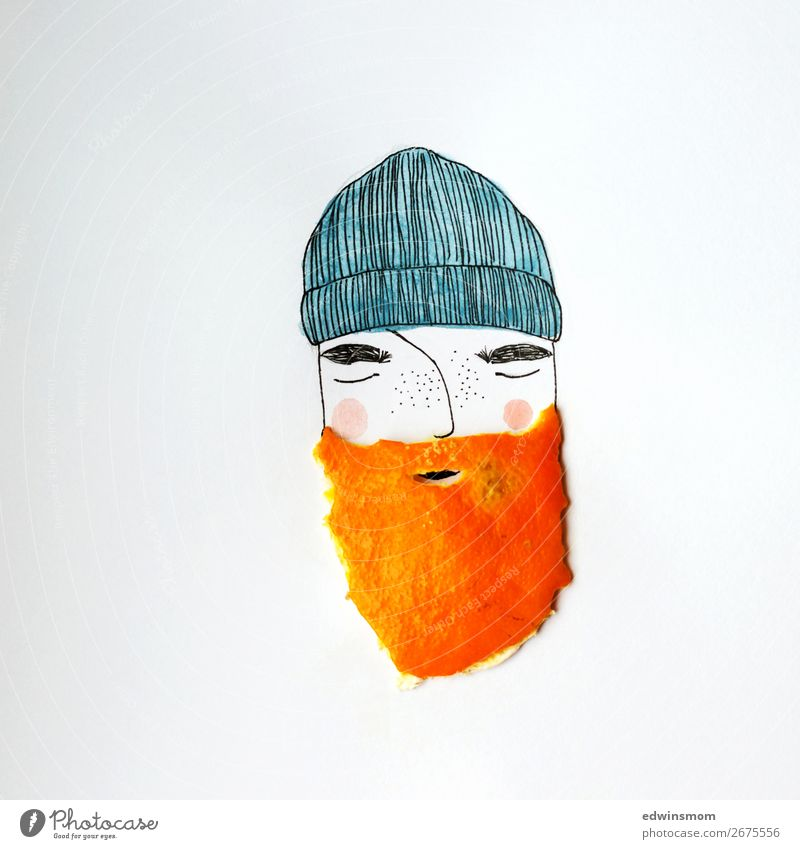 Man with orange beard Fruit Tangerine Masculine Adults Facial hair 1 Human being Cap Beard Paper Decoration Dream Wait Exceptional Cool (slang) Natural Wild