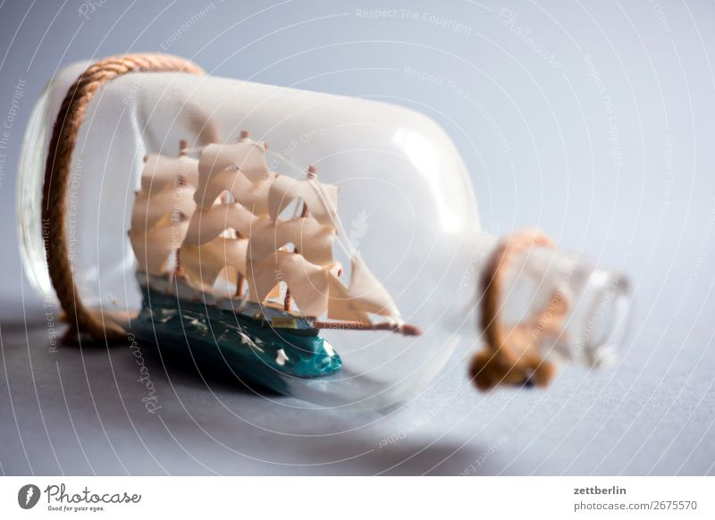 ship in a bottle Bottle three-master Fleet Glass Glassbottle Room Maritime Deserted Pirate Paper boat Watercraft Sailing ship Sailboat Sailing yacht Souvenir