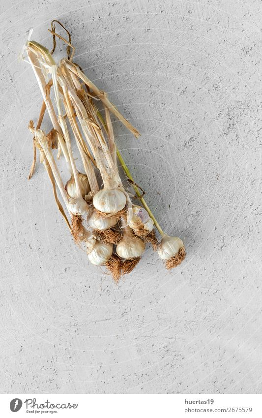 Bouquet of fresh purple garlic Food Vegetable Herbs and spices Art Fresh Delicious Natural Above White Garlic background flat lay bulb Agriculture healthy