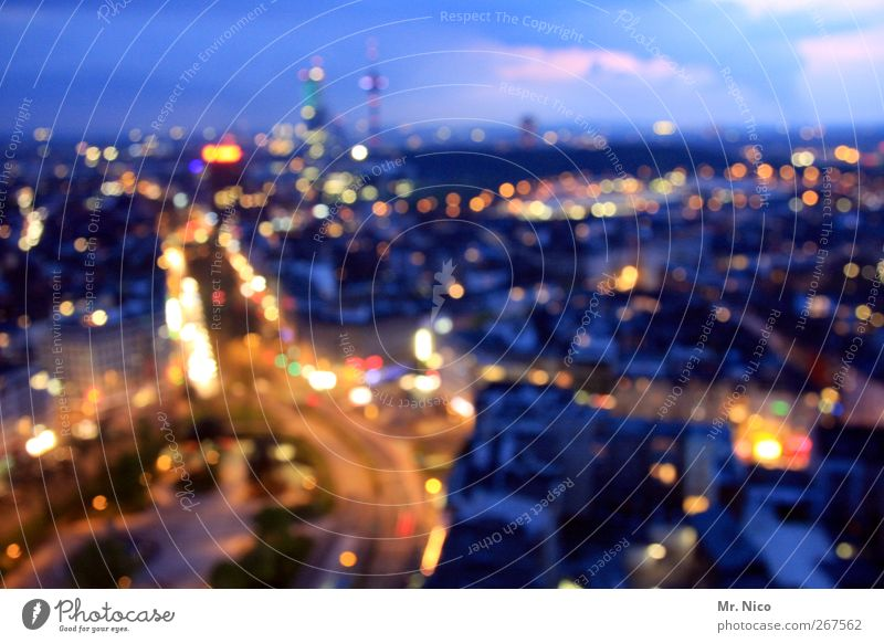 big city lights Night life Town Downtown High-rise Places Transport Rush hour Road traffic Street Crossroads Life Stress Environment Light Europe Populated