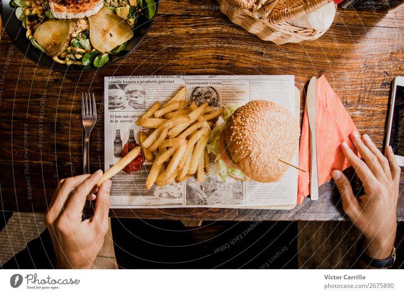 A Vegan Tasty Meal Vegetable Lettuce Salad Bread Nutrition Eating Lunch Dinner Vegetarian diet Fast food Lifestyle Masculine Hand 18 - 30 years