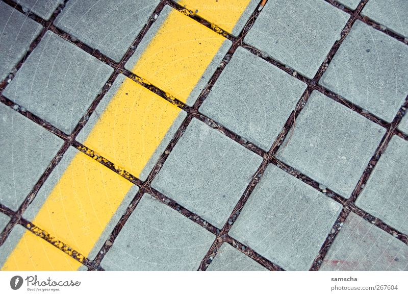 Paving stones Small Town Downtown Places Traffic infrastructure Motoring Street Stone Line Stripe Network Sharp-edged Yellow Gray Cobblestones Transport
