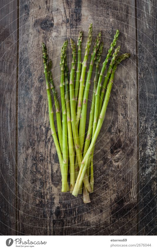 Raw green asparagus on wood Asparagus Vegetable Green Vegetarian diet Agriculture antioxidant bunch Cooking Diet Crops Dinner Farm Garden Growth Healthy