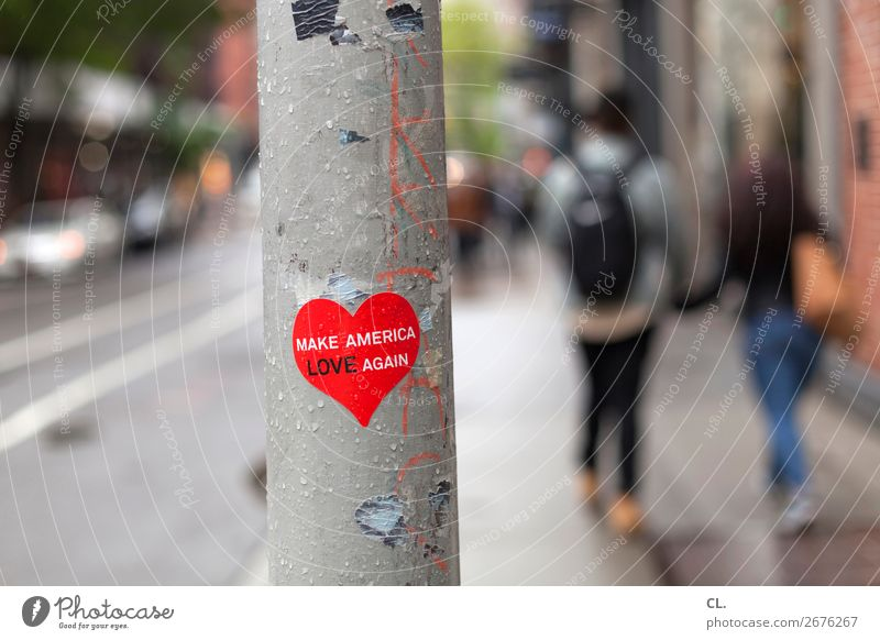 make america love again Human being Couple 2 New York City USA Town Traffic infrastructure Pedestrian Street Lanes & trails Sign Characters Heart Emotions