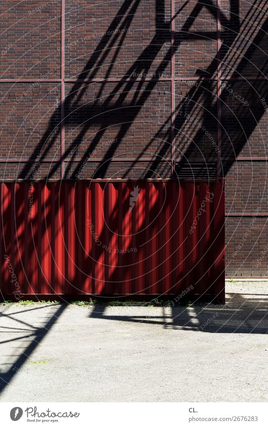 red container Construction site Industry Essen Deserted Industrial plant Manmade structures Building Architecture Wall (barrier) Wall (building) Container Red