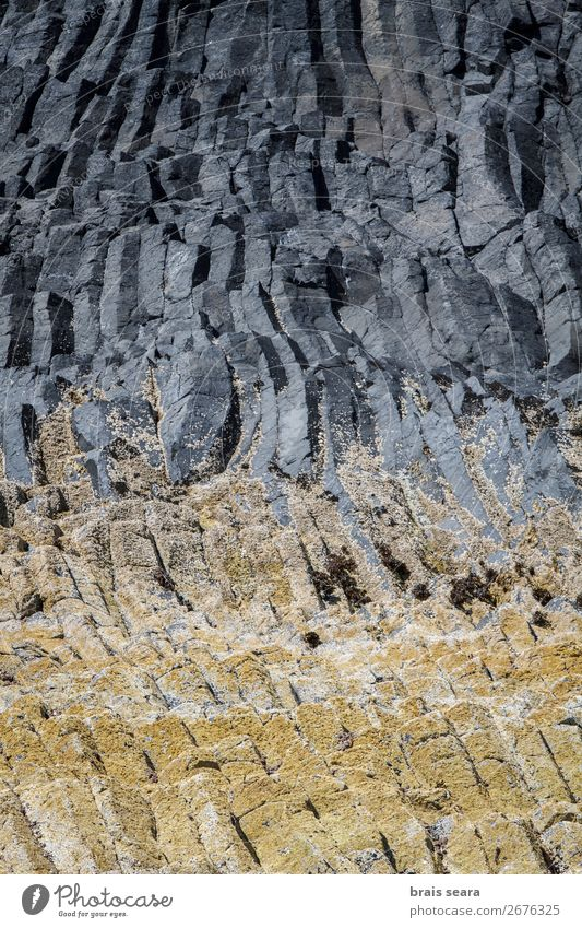 Basaltic columns Vacation & Travel Island Decoration Art Work of art Environment Nature Landscape Earth Stone Natural Yellow Gray Willpower Might Puzzle