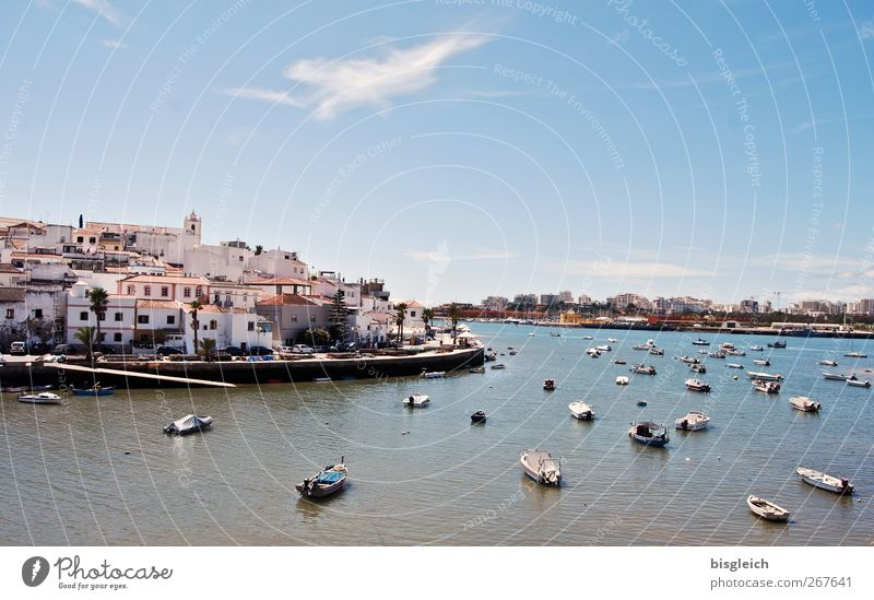 Blue Water Vacation & Travel Ocean Summer Beach Calm Relaxation Europe Beautiful weather Harbour Serene Summer vacation Portugal Rowboat Port City