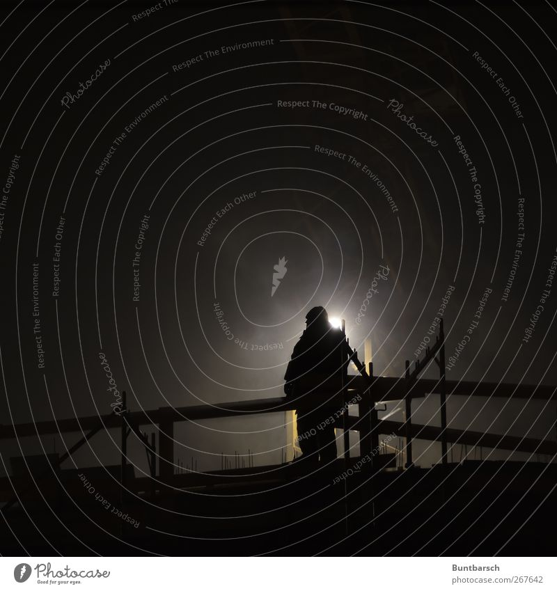 Night shift - man at work Work and employment Profession Craftsperson Working man Manmade structures Build Construction site Workplace Scaffold Shift work