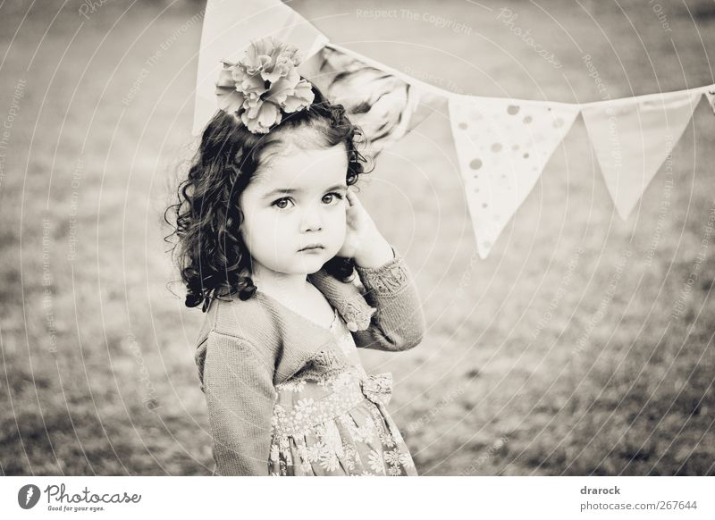 Looking pretty Feminine Child Toddler Girl Infancy 1 Human being 3 - 8 years Brunette Curly hair Beautiful Small Soft Peaceful Innocent drarock Pennant