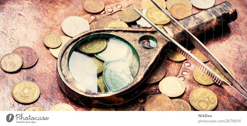 Old coins, numismatics money magnifier old gold currency metal finance background bank silver cash loupe antique banking rich ancient retro vintage financial