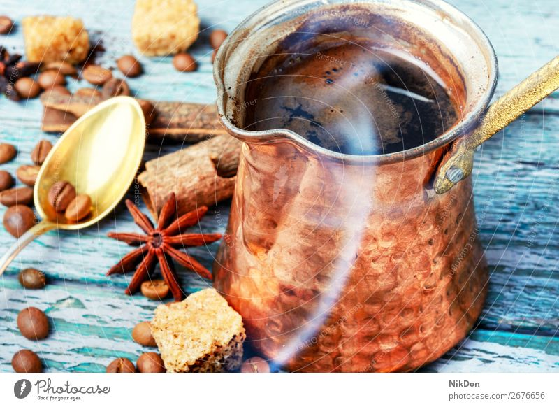 traditional coffee pot cezve drink smoke beverage brown turkish caffeine old vintage style hot arabic copper cafe dark espresso retro cafeteria oriental aroma