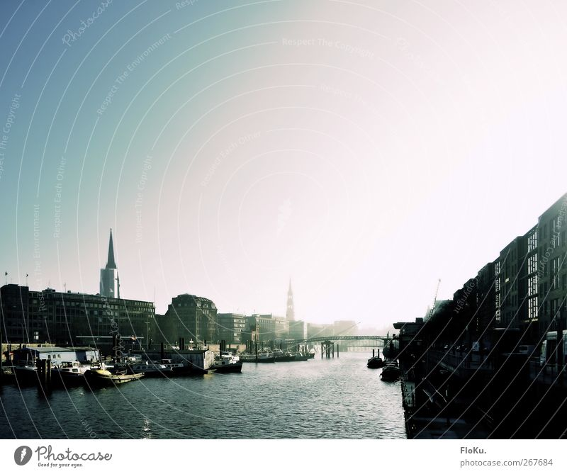 Sky Blue Water White City House (Residential Structure) Architecture Building Bright Germany Waves Transport Hamburg Bridge Europe River