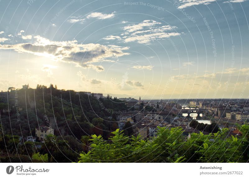 City in the evening sun Environment Nature Landscape Air Sky Clouds Horizon Sun Sunrise Sunset Weather Plant Hill River Arno Florence Italy Town Outskirts