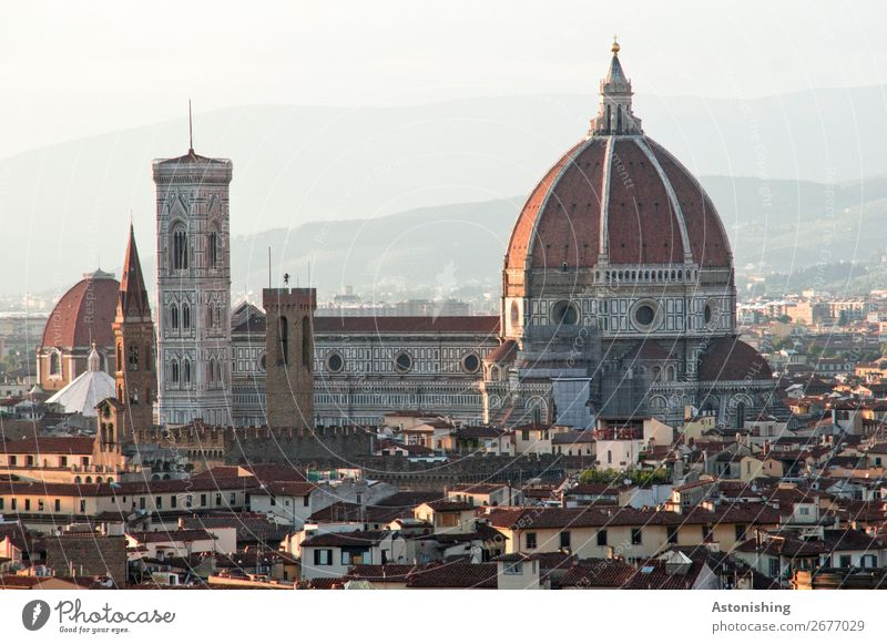 large building Sky Horizon Weather Beautiful weather Hill Mountain Florence Italy Town Downtown Old town House (Residential Structure) Church Dome Tower