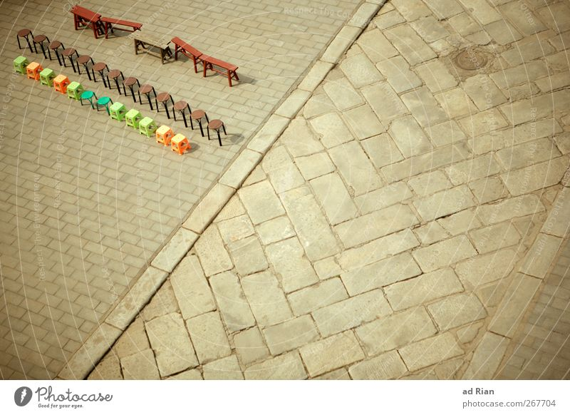 Arranged I Town Deserted Places Marketplace Playground Chair Bench Multicoloured Lanes & trails Road junction Arrangement Symmetry Colour photo Copy Space right