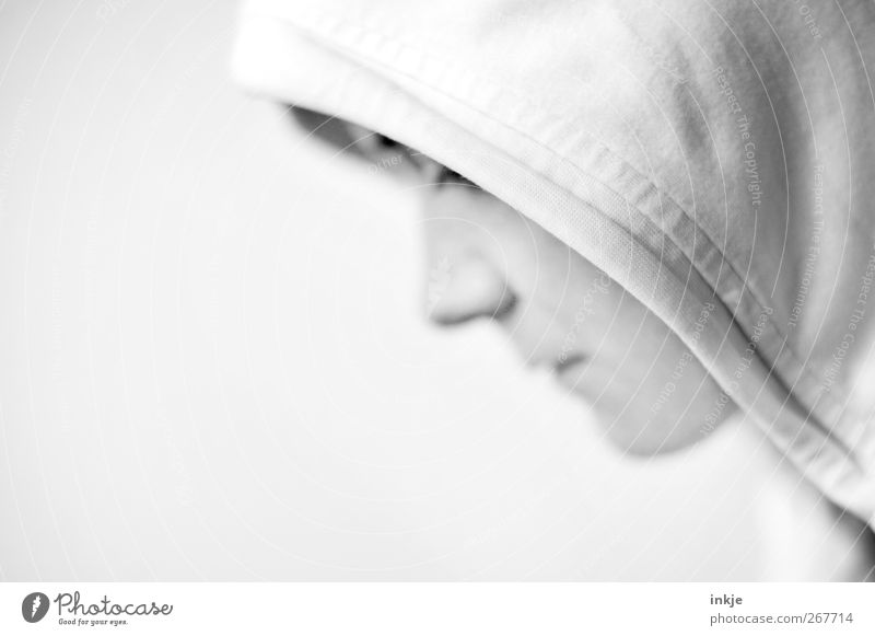 silent Lifestyle Face 1 Human being Hooded sweater Hooded (clothing) Think Sadness Wait Bright White Emotions Moody Loneliness Shame Remorse Uniqueness Crisis