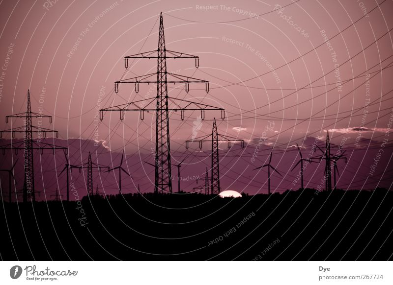 Sky Sun Clouds Climate Energy industry Electricity Network Cable Violet Wind energy plant Electricity pylon Ecological Environmental protection Interlaced