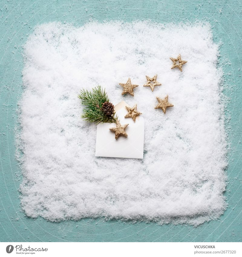 Open envelope with stars on snow background Shopping Style Design Winter Snow Decoration Party Event Feasts & Celebrations Christmas & Advent Ornament