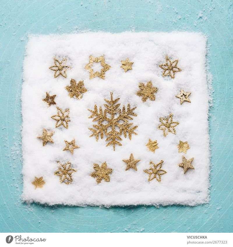 Golden snowflake pattern in the snow Style Design Life Winter Snow Decoration Feasts & Celebrations Christmas & Advent Nature Kitsch Odds and ends Ornament