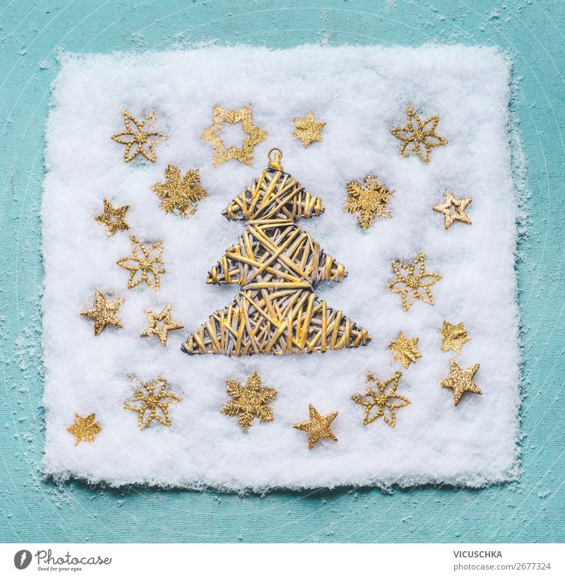 Christmas tree in the snow with golden snowflakes Style Design Winter Snow Decoration Feasts & Celebrations Christmas & Advent Ornament Hip & trendy