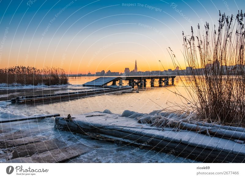 View over the Warnow to Rostock in winter Vacation & Travel Tourism Winter House (Residential Structure) Nature Landscape Water Climate Weather River Town