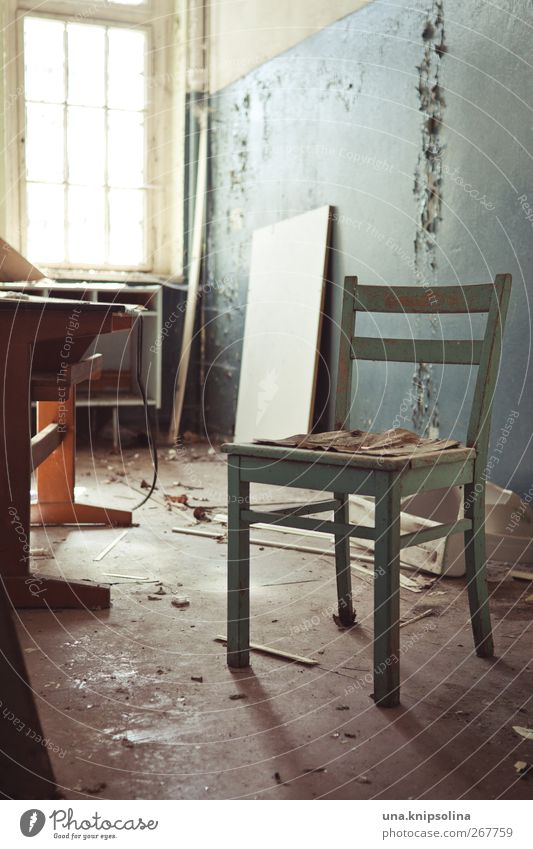 set Redecorate Furniture Desk Chair Wallpaper Room Ruin Wall (barrier) Wall (building) Authentic Dirty Broken Stagnating Decline Past Transience Change