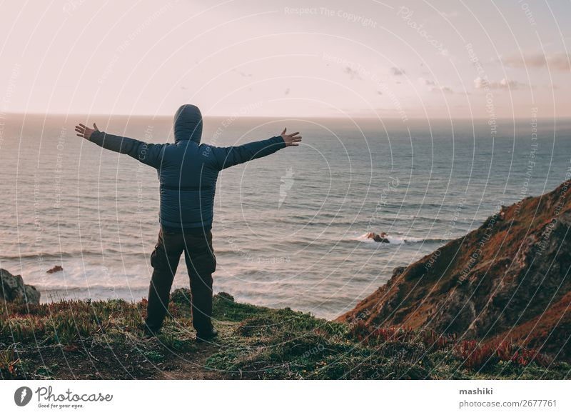 Tourist exploring Portugal. Cabo da Roca ocean Lifestyle Relaxation Vacation & Travel Freedom Ocean Skyline Think Dream Turquoise Loneliness Peace Consciousness