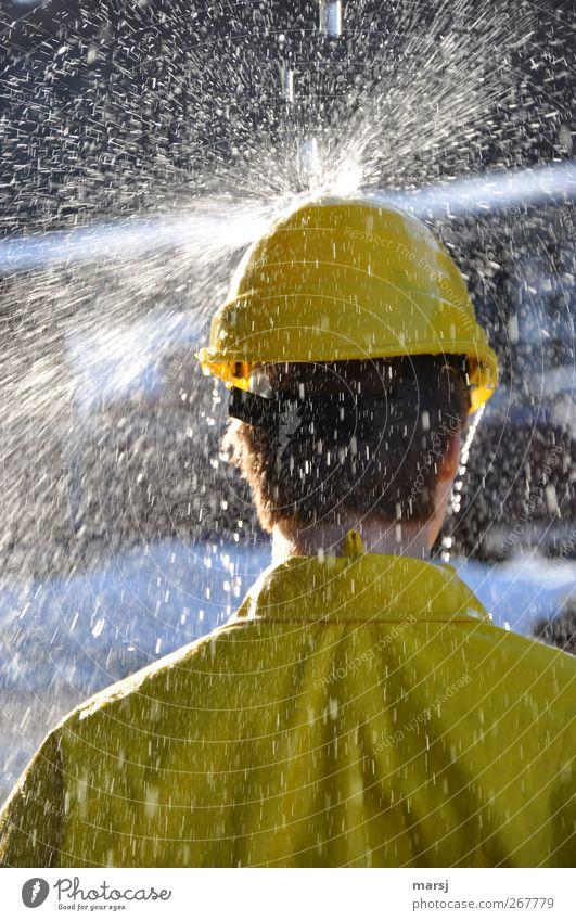 Human being Youth (Young adults) Water Adults Yellow Head Young man Work and employment 18 - 30 years Masculine Wet Stand Clothing Industry Cool (slang) Construction site