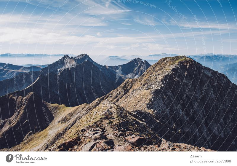South Tyrolean Alps | Hirzer Hiking Climbing Mountaineering Nature Landscape Sky Clouds Summer Beautiful weather Peak Gigantic Tall Sustainability Natural