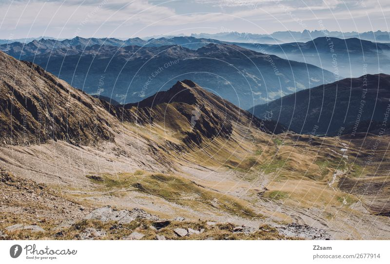 View from Hirzer | South Tyrol Hiking Nature Landscape Sky Summer Beautiful weather Alps Mountain Peak Sustainability Natural Blue Green Colour Idyll