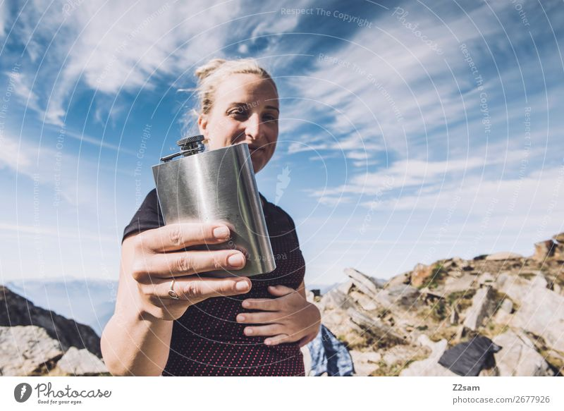Summit schnapps pleasing Vacation & Travel Hiking Climbing Mountaineering Young woman Youth (Young adults) Nature Landscape Beautiful weather Rock Alps