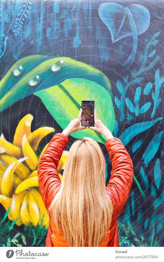 Tourist captures details of Melbourne graffiti-Australia Woman Human being Vacation & Travel Nature Plant Town Colour Green Flower Leaf Joy Street Lifestyle
