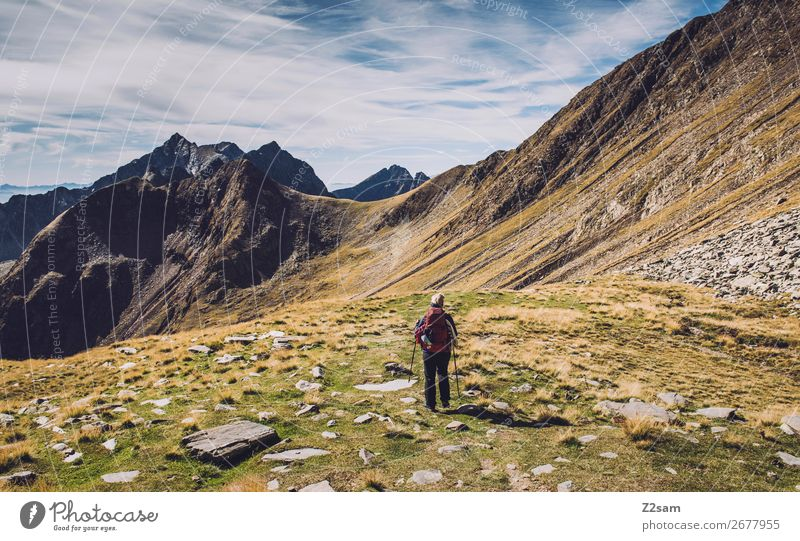 Young woman crossing the Alps | Hirzer E5 Leisure and hobbies Vacation & Travel Adventure Expedition Summer vacation Mountain Hiking Climbing Mountaineering