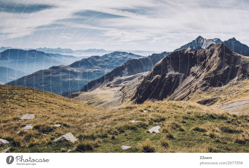 View from Hirzer in South Tyrol | E5 Vacation & Travel Hiking Climbing Mountaineering Environment Nature Landscape Sky Autumn Beautiful weather Meadow Alps