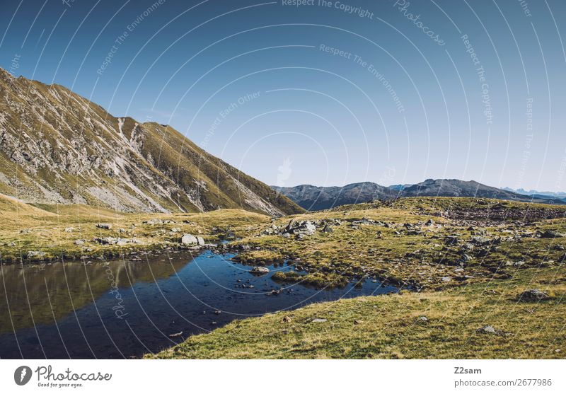 South Tyrolean Mountain Lake | Hirzer | E5 Alpine Crossing Hiking Climbing Mountaineering Environment Nature Landscape Cloudless sky Summer Beautiful weather
