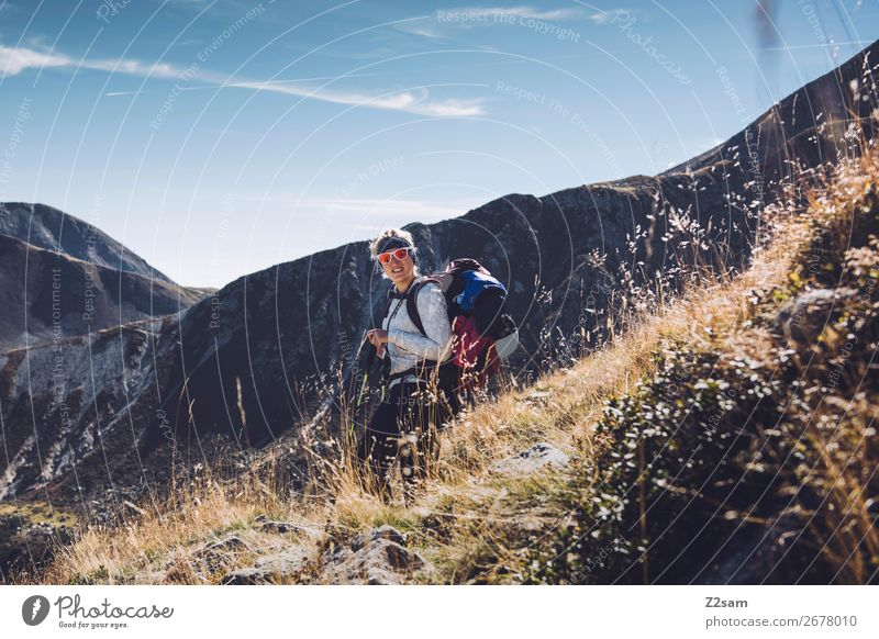 Young woman hiking in South Tyrol | E5 Vacation & Travel Adventure Mountain Hiking Climbing Mountaineering Youth (Young adults) Nature Landscape Summer