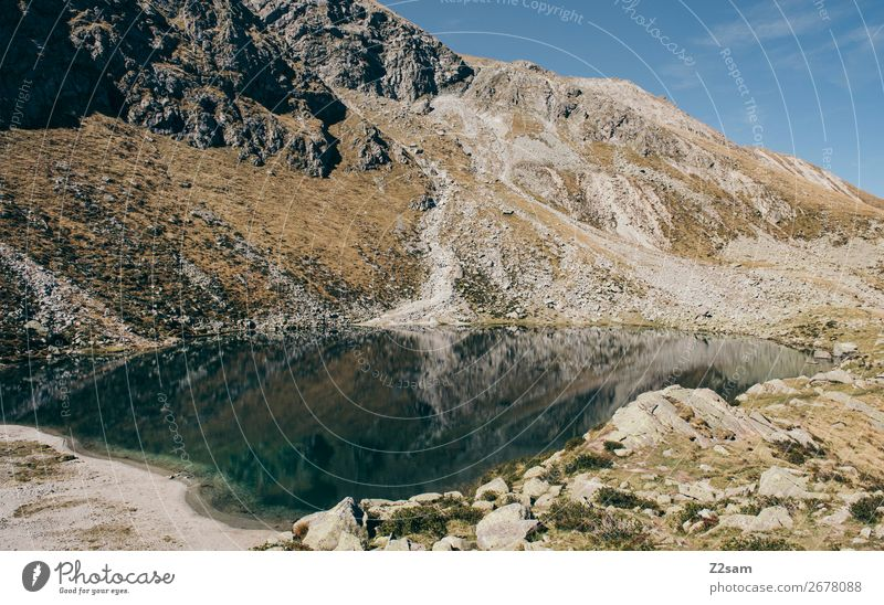 Mountain lake / Hirzer Meran Hiking Environment Nature Landscape Sky Summer Beautiful weather Alps Lake Relaxation Esthetic Sustainability Natural Blue Calm