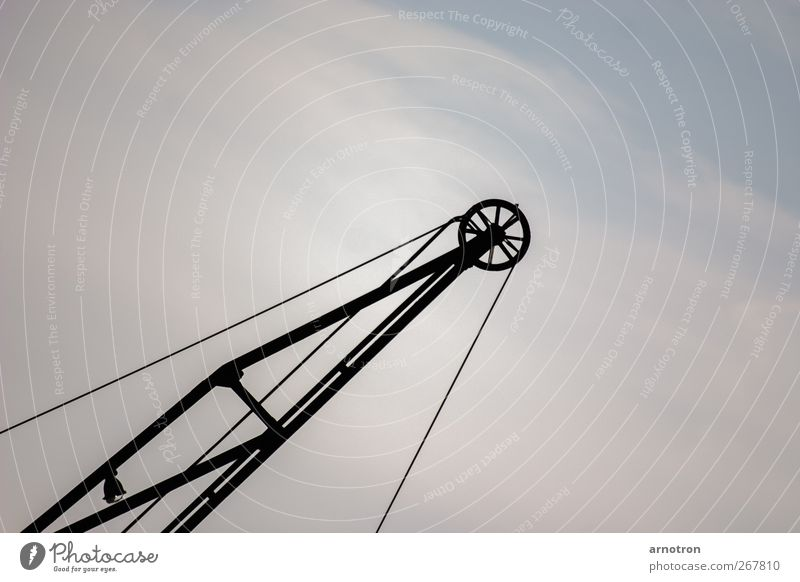 skywärks Rope Technology Crane Air Clouds Industrial plant Metal Work and employment Build Old Sharp-edged Large Cold Blue Help Construction Colour photo