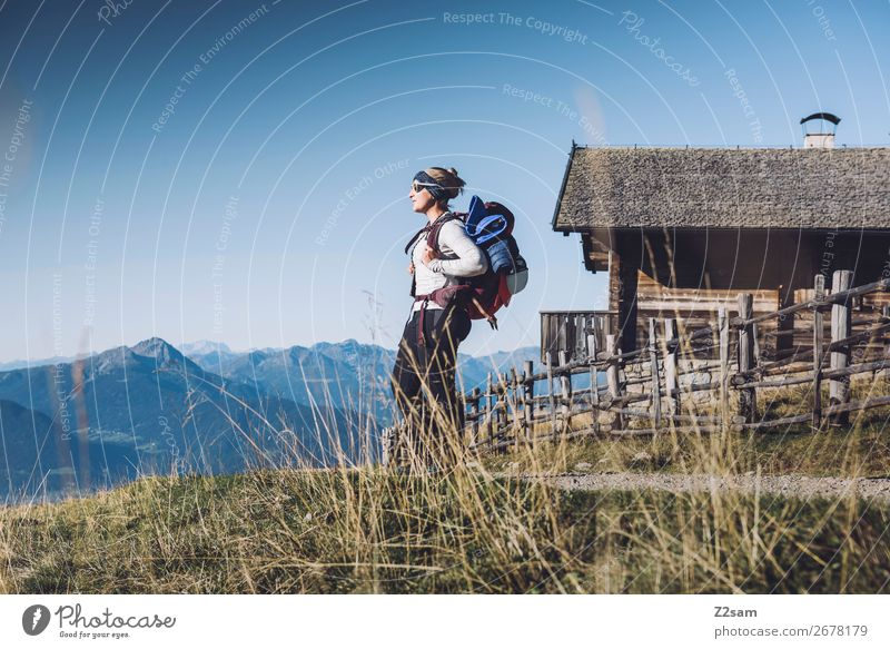 Hiker on the E5 long-distance hiking trail | Merano Leisure and hobbies Vacation & Travel Mountain Hiking Young woman Youth (Young adults) 30 - 45 years Adults