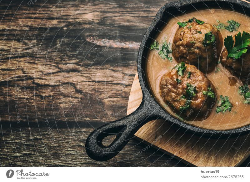 Homemade Albondigas with Spanish sauce Food Meat Sausage Herbs and spices Lunch Italian Food Fork Art Delicious Above Red Tradition meatballs Sauce stew