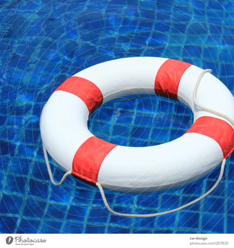 Blue White Red Swimming & Bathing Help Safety Swimming pool Water wings Section of image Partially visible Object photography Life belt Beach vacation
