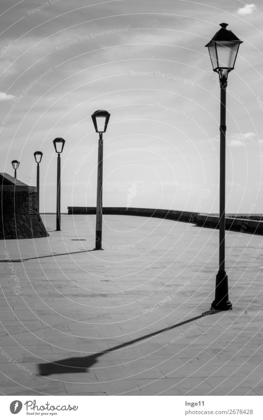 Light and shadow Deserted street lamps Stone Metal Calm Esthetic Eternity Serene Style Black & white photo Exterior shot Shadow