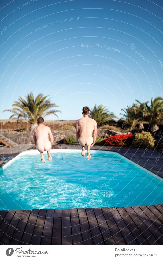 #AS# Living in full Lifestyle Human being Masculine 2 Joy luck Happiness Swimming pool Homosexual Friendship Crazy Vacation & Travel Bottom Brave Contrast