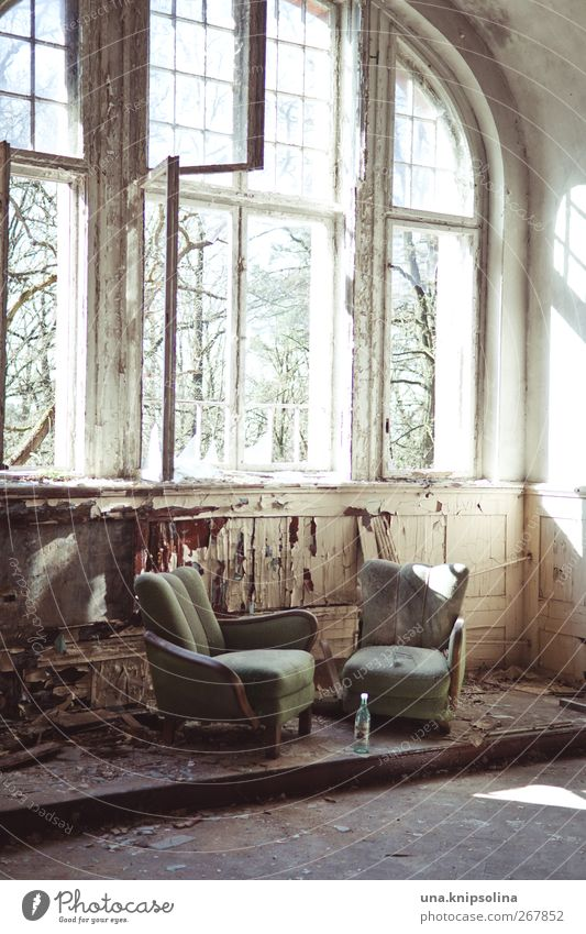 window seat Interior design Furniture Armchair Room Ruin Window Old Exceptional Dirty Broken Decline Past Transience Loneliness Colour photo Subdued colour