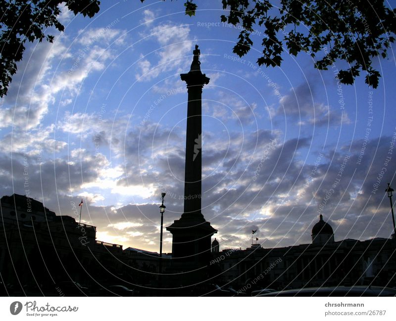 Trafalgar Square against the light Dusk Clouds Column Places London England Great Britain Europe Evening Sky Blue Nelson's Column
